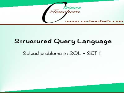 Solved problems in SQL - SET 1