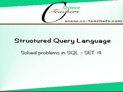 Solved problems in SQL - SET 4